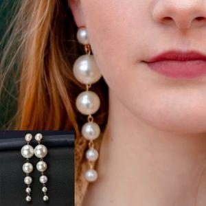 Oversized Long Drop Descending Pearl Earrings